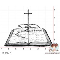 TAMPON BIBLE OUVERTE AU CHAPELET