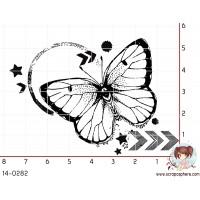 TAMPON GRUNGE PAPILLON CERCLE par Lily Fairy