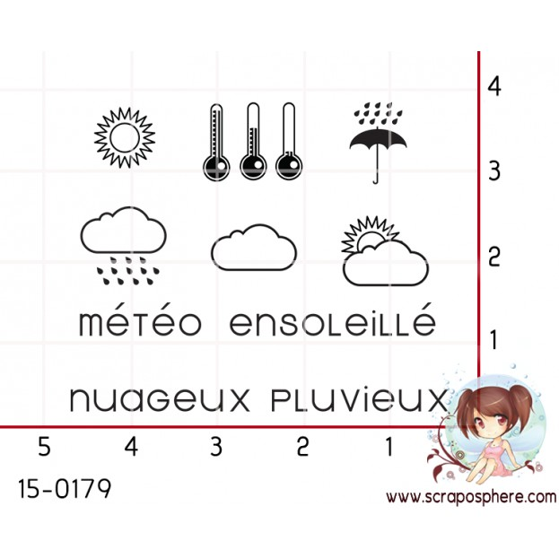 6 MINI TAMPONS PLANNING - SERIE METEO par Lily Fairy