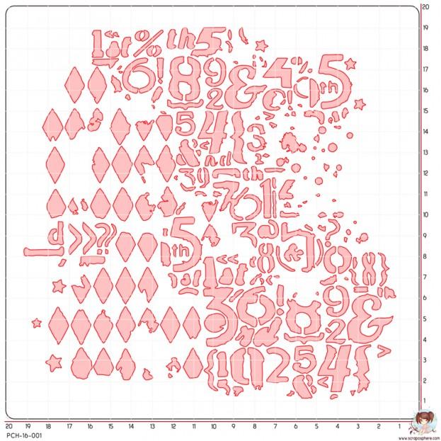 POCHOIR SCRAPOSPHERE - GRAND FOND GRUNGE CHIFFRES par Lily Fairy