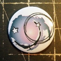 BADGE 3.8 cm - GRUNGE BLEU par Lily Fairy