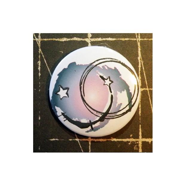 BADGE 3.8 cm - GRUNGE BLEU par Lily Fairy