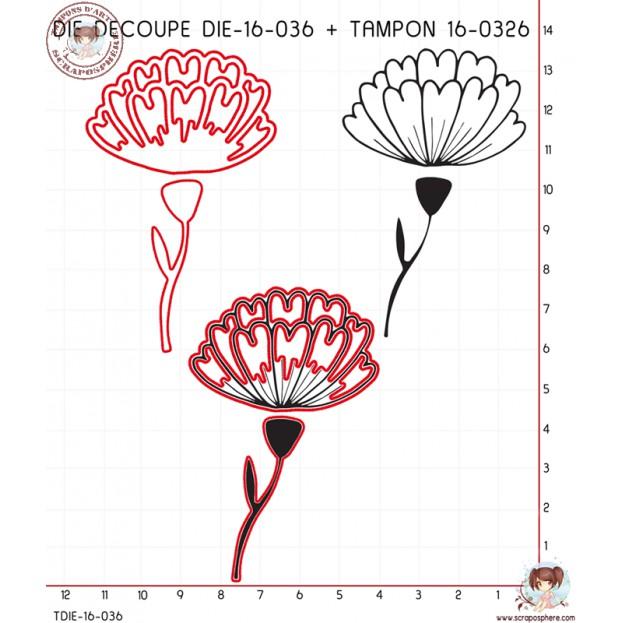 DIE DECOUPE TAMPON FLEUR ET TIGE + TAMPON 16-0326