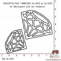 DIE 2 DIAMANTS assortis aux tampons 16-0122 et 16-0123