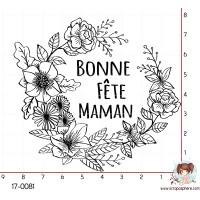TAMPON BONNE FETE MAMAN COURONNE DE FLEURS par Lily Fairy