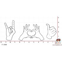 3 TAMPONS MAINS SIGNES OK LOVE ROCK