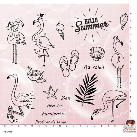18 TAMPONS FLAMANTS ROSES EN VACANCES par Lily Fairy