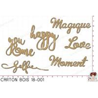 CARTON BOIS SCRAPOSPHERE - 6 MOTS HAPPY LOVE MOMENT HAPPY SELFIE par Lily Fairy