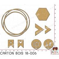 CARTON BOIS SCRAPOSPHERE - 8 CERCLE CHEVRON ICI LA HEXAGONE par Lily Fairy