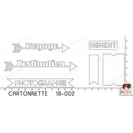 CARTONNETTE SCRAPOSPHERE - 6 DECOUPES MOTS BANNIERE PHOTOGRAPHIE MOMENT TICKET par Lily Fairy