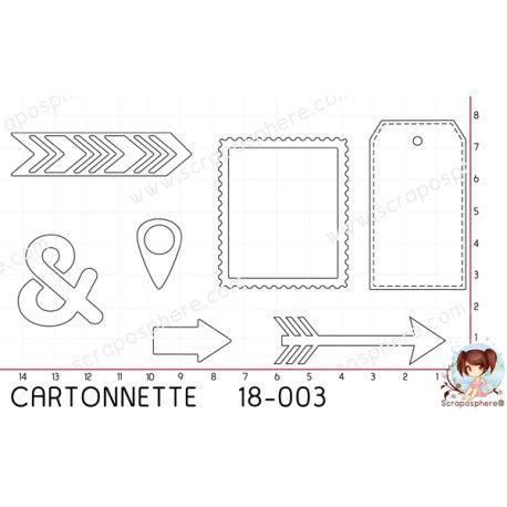 CARTONNETTE SCRAPOSPHERE - 7 DECOUPES TAG FLECHE CADRE par Lily Fairy