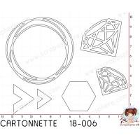 CARTONNETTE SCRAPOSPHERE - 6 DECOUPES CERCLE CHEVRON DIAMANT par Lily Fairy