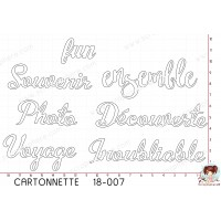 CARTONNETTE SCRAPOSPHERE - 7 DECOUPES MOTS FUN DECOUVERTE SOUVENIR PHOTO VOYAGE par Lily Fairy