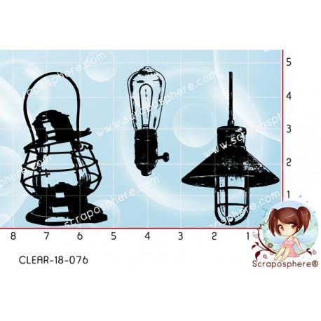 3 TAMPONS TRANSPARENTS LAMPES ANCIENNES VINTAGE