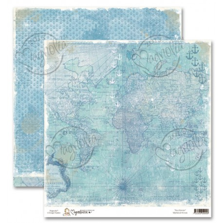 1 FEUILLE CARDSTOCK MYTHICAL OCEAN - MAGNOLIA