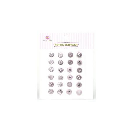 24 STRASS METALLIC NAILHEADS PINK - QUEEN AND CO