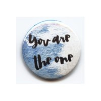 BADGE 3.8 cm - YOU ARE THE ONE bleu par Shannon