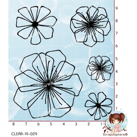 4 TAMPONS TRANSPARENTS FLEURS par Lily Fairy