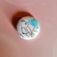 BADGE 2.5 cm - Oiseau aquarelle bleue par l'Atelier de Caroline