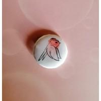 BADGE 2.5 cm - Oiseau aquarelle rouge par l'Atelier de Caroline