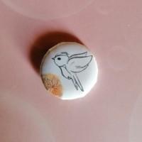 BADGE 2.5 cm - Oiseau aquarelle orange par l'Atelier de Caroline