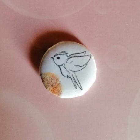 BADGE 2.5 cm - Oiseau aquarelle orange par l'Atelier de Caroline {attributes}