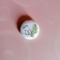 BADGE 2.5 cm - Oiseau aquarelle verte par l'Atelier de Caroline